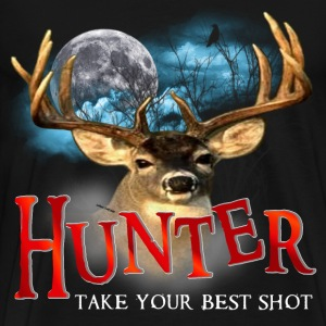 Hunter take your best shot Deer white text edited T-Shirts - Men's Premium T-Shirt