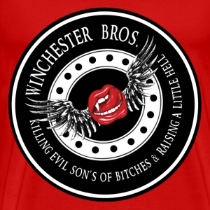 Winchester Bros Ring Patch Vamps Kiss Revised T-Shirts - Men's Premium T-Shirt