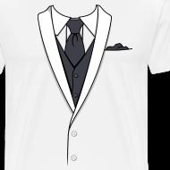 Design ~ Tuxedo T Shirt White Long Tie