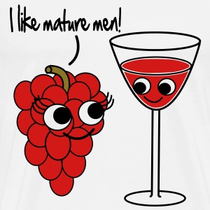 """I like mature men"" Grape / Wine Vector Design T-Shirts - Men's Premium T-Shirt"