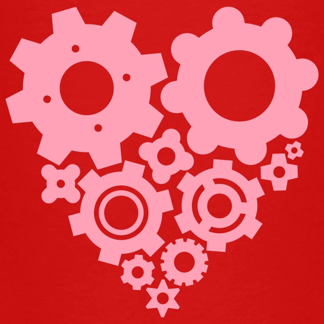 Pink Gear Heart - Pick your own  shirt color!