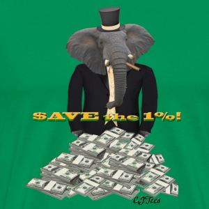 Save the 1%! - Tuxedo Elephant Rolling In It - Men's Premium T-Shirt