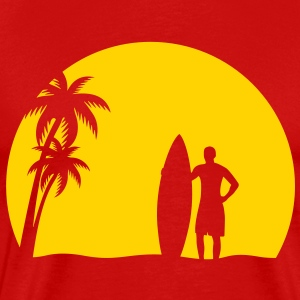 surfer palms sun surfboard surfing sundown sunset swim beach T-Shirts - Men's Premium T-Shirt