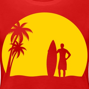 surfer palms sun surfboard surfing sundown sunset swim beach Plus Size - Women's Premium T-Shirt