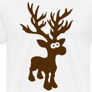 moose caribou reindeer deer christmas rudolph rudolf winter horns antlers deer head T-Shirts - Men's Premium T-Shirt