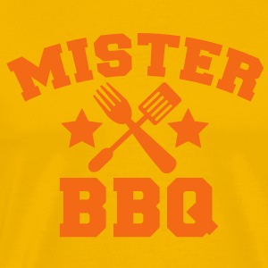 MISTER BBQ barbecue with grilling fork spatula and stars T-Shirts - Men's Premium T-Shirt