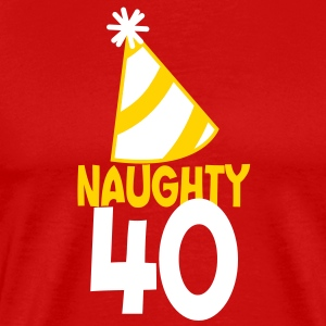 naughty 40 forty with birthday cute top hat  T-Shirts - Men's Premium T-Shirt