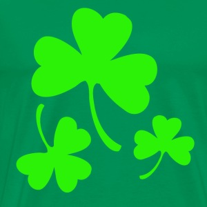 3 Neon Green Shamrocks T-Shirts - Men's Premium T-Shirt