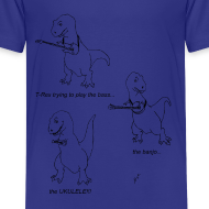 Design ~ T-Rex Trying Ukulele (Kid's T-Shirt)