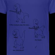 Design ~ T-Rex Trying Ukulele (Kid's T-Shirt)