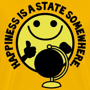 HAPPINESS is a STATE somewhere! with yellow smiley and a world globe T-Shirts - Men's Premium T-Shirt