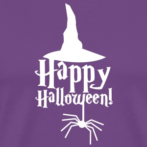 HAPPY HALLOWEEN with a spider and witches hat cute! T-Shirts - Men's Premium T-Shirt