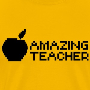 AMAZING teacher with digital apple image computer T-Shirts - Men's Premium T-Shirt