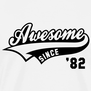 Awesome SINCE 1982 - Birthday Anniversaire T-Shirt BW - Men's Premium T-Shirt