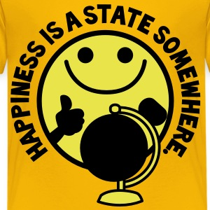 HAPPINESS is a STATE somewhere! with yellow smiley and a world globe Kids' Shirts - Kids' Premium T-Shirt