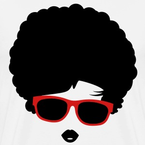 A girl with afro hairstyle and sunglasses T-Shirts - Men's Premium T-Shirt