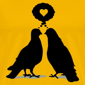 Love thinking  Doves - Two Valentine Birds 2c T-Shirts - Men's Premium T-Shirt