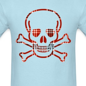 Skull & Cross Bones Red Plaid - Men's T-Shirt