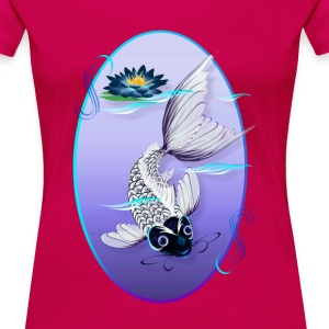 White Koi-Blue Lily Oval - Women's Premium T-Shirt
