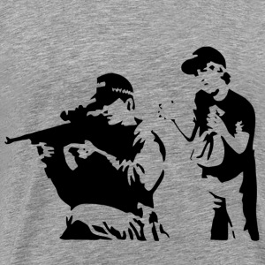 Banksy Sniper and Child - Men's Premium T-Shirt