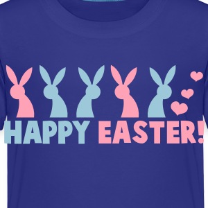 HAPPY EASTER! with a line of rabbits Toddler Shirts - Toddler Premium T-Shirt
