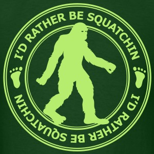 I'd Rather Be Squatchin' Patch (Green) - Men's - Men's T-Shirt