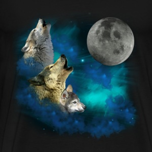 Northern Lights  Wolfs family moon 2 T-Shirts - Men's Premium T-Shirt