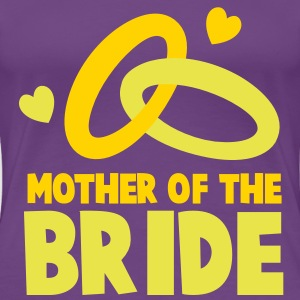 MOTHER OF THE BRIDE with cute love hearts and rings Women's T-Shirts - Women's Premium T-Shirt
