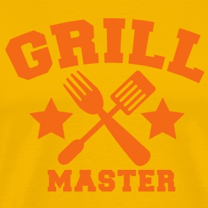 grill master BBQ barbecue design with fork and patty scraper T-Shirts - Men's Premium T-Shirt