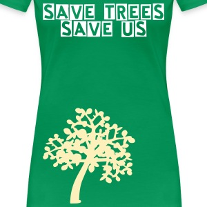 save trees save us txt  Trees Women's Plus Size Basic T-Shirt - Women's Premium T-Shirt