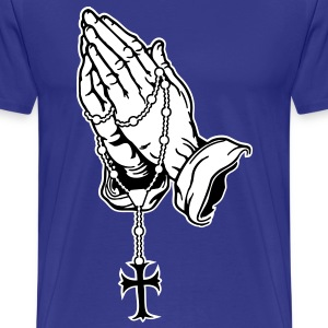 Praying Hands with Rosenkranz Digital Direct - Men's Premium T-Shirt