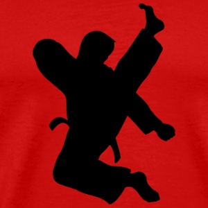 Taekwondo High Kick on red - Men's Premium T-Shirt