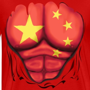 China Flag Ripped Muscles, six pack, chest t-shirt - Men's Premium T-Shirt