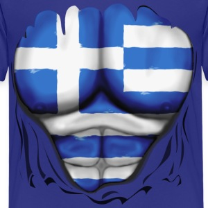 Greece Flag Ripped Muscles, six pack, chest t-shirt - Kids' Premium T-Shirt