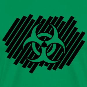 biohazard_on_stripe_pattern_1c T-Shirts - Men's Premium T-Shirt