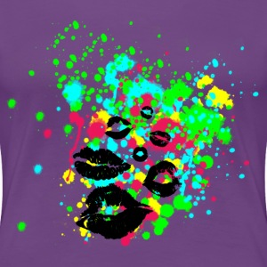 Graffiti Lips Explosion - Multi Color Paint Splatter Graphic Design - Women's Premium T-Shirt