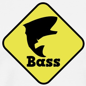 bass fishing fish crossing sign T-Shirts - Men's Premium T-Shirt