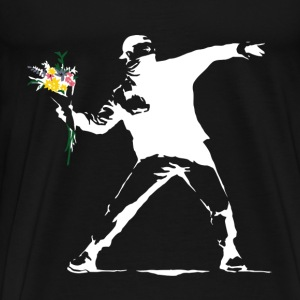 Flower Thrower White - Unofficial Banksy - Men's Premium T-Shirt