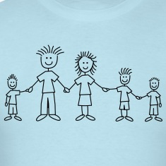 doodle_family_with_3_boys_1c T-Shirts