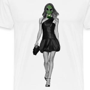 Catwalk Supermodel in a Gas Mask (2 Sided) - Men's Premium T-Shirt