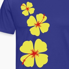 three hibiscus tropical flowers in a row down T-Shirts