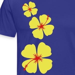 three hibiscus tropical flowers in a row down T-Shirts - Men's Premium T-Shirt