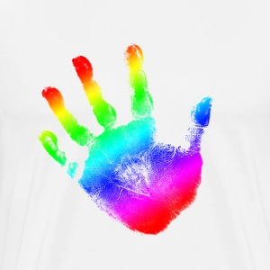 Hand print - Rainbow - Imprint, Fingerprint, palm, high five perfect for hoodies, tshirts, tanks, iphone cases, ipad cases, etc!  T-Shirts - Men's Premium T-Shirt