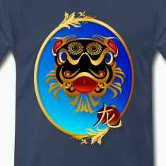 Black 'n' Gold Chinese Dragon with symbol-oval