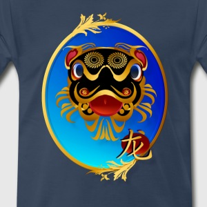 Black 'n' Gold Chinese Dragon with symbol-oval - Men's Premium T-Shirt