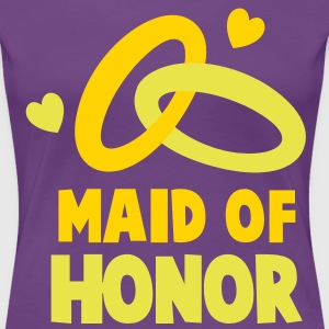 MAID OF HONOR with cute love hearts and rings Women's T-Shirts - Women's Premium T-Shirt