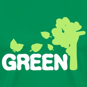 GO GREEN TXT TREES Men's Heavyweight T-Shirt - Men's Premium T-Shirt