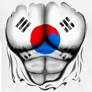 South Korea Flag Ripped Muscles, six pack, chest t-shirt - Men's Premium T-Shirt