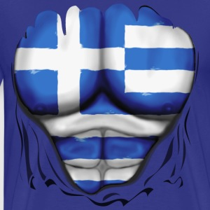 Greece Flag Ripped Muscles, six pack, chest t-shirt - Men's Premium T-Shirt