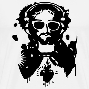 Jesus Graffiti with headphones and sunglasses T-Shirts - Men's Premium T-Shirt